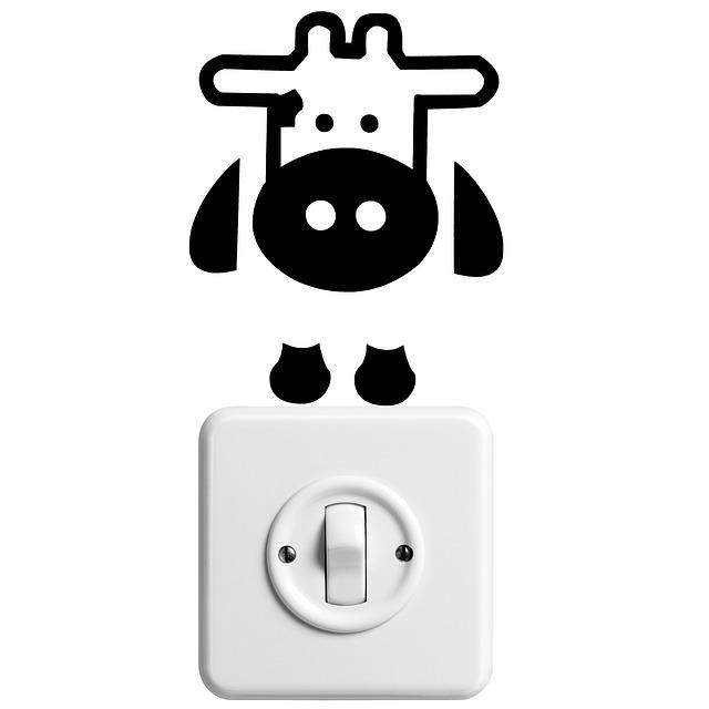 vypínač s obrázkem krávy